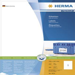 Herma 4631 Premium Universal-Etiketten 21.0x29.7 cm (200 Blatt (200