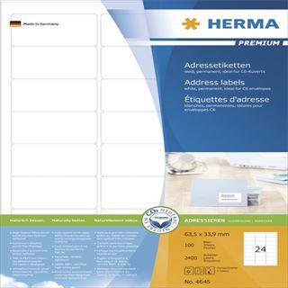 Herma 4645 Adressetiketten 6.35x3.39 cm (100 Blatt (2400 Etiketten))