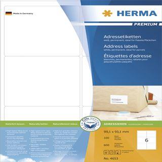 Herma 4653 Premium Adressetiketten 9.91x9.31 cm (100 Blatt (600