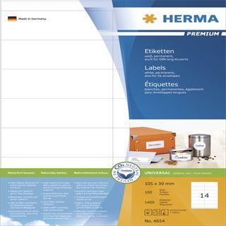 Herma 4654 Premium Universal-Etiketten 10.5x3.9 cm (100 Blatt (1400