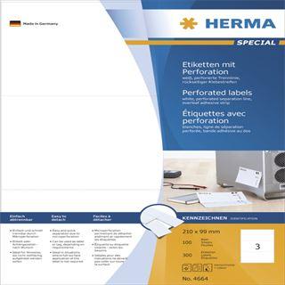 Herma 4664 perforiert Universal-Etiketten 21x9.9 cm (100 Blatt (300