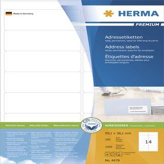 Herma 4678 Premium Adressetiketten 9.91x3.81 cm (100 Blatt (1400