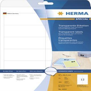 Herma 4682 Folie Transparent-Etiketten 9.7x4,23 cm (25 Blatt (300