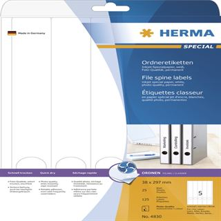 Herma 4830 Inkjet-Ordneretiketten 3.8x29.7 cm (25 Blatt (125