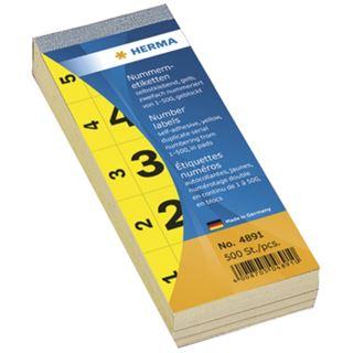 Herma 4891 selbstklebend gelb Nummernblock-Etiketten 2.8x5.6 cm (500