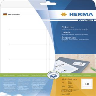 Herma 5028 Premium Universal-Etiketten 8.38x5.08 cm (25 Blatt ( 250