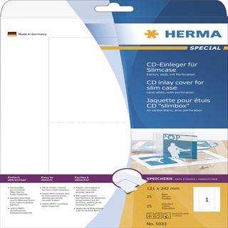 Herma 25 CD-Einleger für Slimcase A4 121x242 mm Etiketten