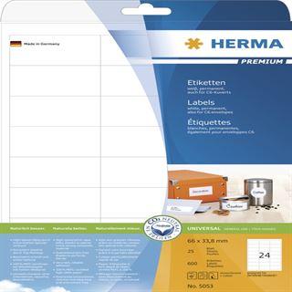 Herma 5053 Premium Universal-Etiketten 6.6x3.38 cm (25 Blatt (600