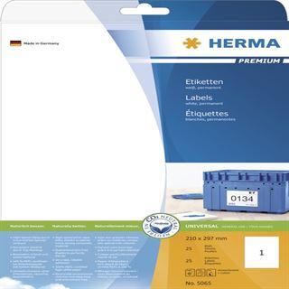 Herma 5065 Premium Universal-Etiketten 21.0x29.7 cm (25 Blatt (25