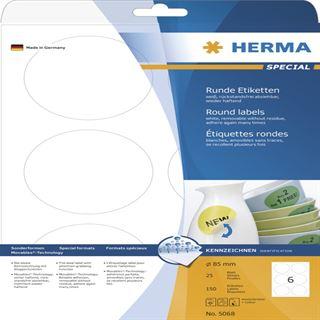 Herma 5068 rund ablösbar Universal-Etiketten 8.5x8.5 cm (25