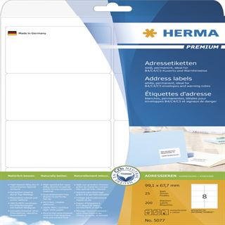 Herma 5077 Premium Adressetiketten 9.91x6.67 cm (25 Blatt (200