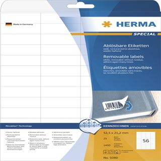 Herma 5080 ablösbar Universal-Etiketten 5.25x2.12 cm (25 Blatt