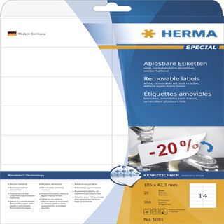 Herma 5081 ablösbar Universal-Etiketten 10.5x4.23 cm (25 Blatt