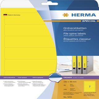 Herma 5091 blickdicht gelb Ordneretiketten 19.2x3.8 cm (20 Blatt (140