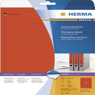 Herma 5092 rot Ordneretiketten 19.2x3.8 cm (20 Blatt (140 Etiketten))