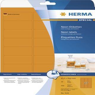 Herma 5141 neon-orange Universal-Etiketten 6.35x2.96 cm (20 Blatt