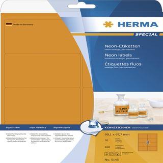 Herma 5145 neon-orange Universal-Etiketten 9.91x6.67 cm (20 Blatt