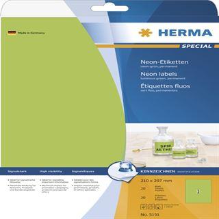 Herma 5151 neon-grün Universal-Etiketten 21.0x29.7 cm (20 Blatt