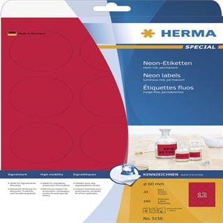Herma 5156 neon-rot rund Universal-Etiketten 6.0x6.0 cm (20 Blatt