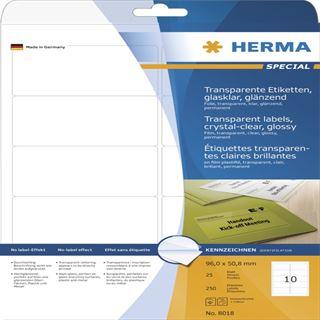 Herma 8018 glasklar folie Universal-Etiketten 9.6x5.08 cm (25 Blatt (