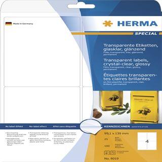 Herma 8019 glasklar Universal-Etiketten 9.91x1.39 cm (25 Blatt (100