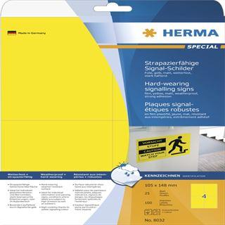 Herma 8032 strapazierfähig gelb Signal-Schilder 10.5x14.8 cm (25