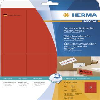 Herma 8325 Warnhinweis neonrot Versand-Etiketten 5x14.2 cm (20 Blatt