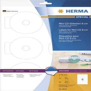 Herma CD-Etiketten Mini A4 weiß 78 mm Papier opak 60 St.