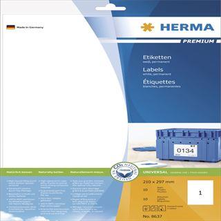 Herma 8637 Premium Universal-Etiketten 21.0x29.7 cm (10 Blatt (10