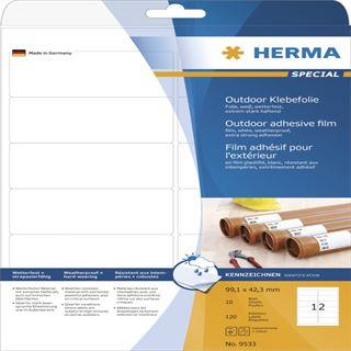 Herma 9533 Outdoor Klebefolie 9.91x4.23 cm (10 Blatt (120 Etiketten))
