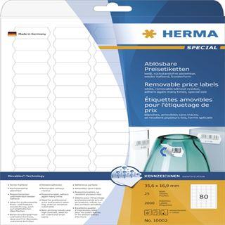 Herma 10002 ablösbar Preisetiketten 3.56x1.69 cm (25 Blatt (2000