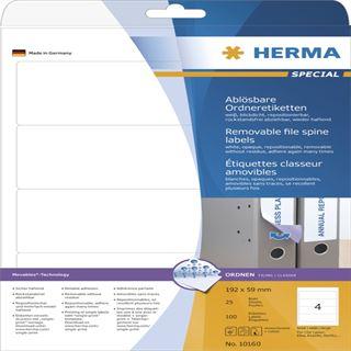 Herma 10160 ablösbar blickdicht Ordneretiketten 19.2x5.9 cm (25