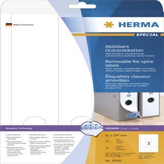 Herma 10185 ablösbar blickdicht Ordneretiketten 6.1x29.7 cm (25