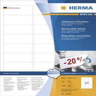 Herma 10300 ablösbar Universal-Etiketten 6.35x2.96 cm (100 Blatt