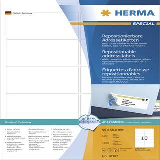 Herma 10307 Adressetiketten 9.6x5.08 cm (100 Blatt (1000 Etiketten))