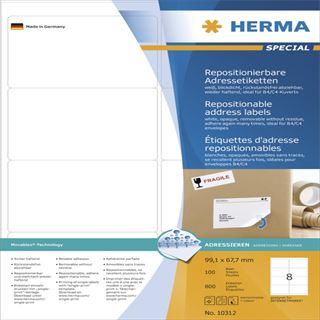 Herma 10312 repositionierbar blickdicht Adressetiketten 9.91x6.67 cm