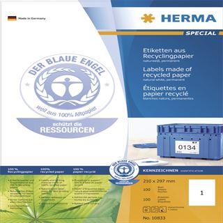 Herma 10833 Universal-Etiketten 21.0x29.7 cm (100 Blatt (100