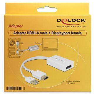 Delock HDMI1.3 Adapter HDMI-Stecker auf DisplayPort Buchse Weiß