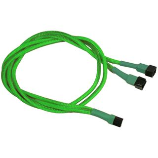 Nanoxia 60 cm sleeved neon grünes Y-Kabel für 3-Pin Molex
