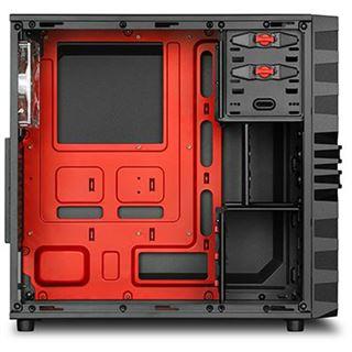 Sharkoon VG4-W mit Sichtfenster Midi Tower ohne Netzteil schwarz/rot
