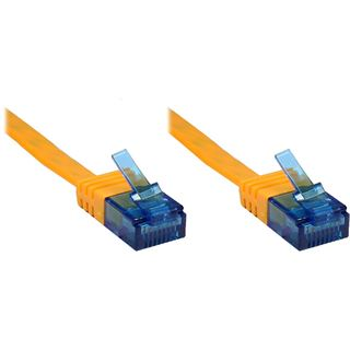 20.0m Patchkabel Cat. 6a U/UTP FLACHKABEL 500 MHz orange RJ45 Stecker
